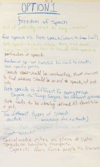 Notes from forum participants regarding Freedom of Speech as an approach to Racial & Ethnic Tensions on College Campuses.